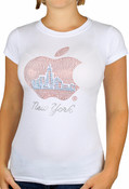 NYC Apple with Blue Skyline Rhinestone Cap Tee - White