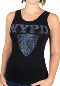 NYPD Tank Top - Black Ladies Rhinestone Tank