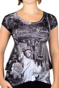 NY Liberty and Empire State Rhinestones Black Ladies T-Shirt - front