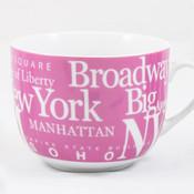 NYC Landmarks Porcelain Soup Mug - Pink