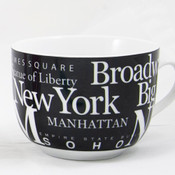 NYC Landmarks Porcelain Soup Mug - Black