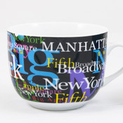 NYC Hotspots Porcelain Soup Mug - Black