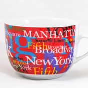 NYC Hotspots Porcelain Soup Mug - Red