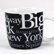 NYC Landmarks Porcelain 12 oz Mug - Black