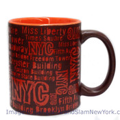 NYC Location Script Matte 11oz Mug - Brown