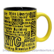 NYC Location Script Matte 11oz Mug - Yellow