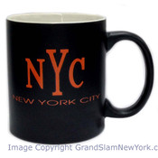 NYC Orange Font Black Matte 11oz Mug