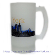 NYC Glowing Night Skyline Frosted Beer Glass