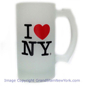 I Love NY Frosted Glass Beer Tankard