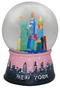 NYC Skyline Design 45mm Snowglobe - Pink