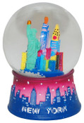 NYC Skyline Design 45mm Snowglobe - Pink and Blue
