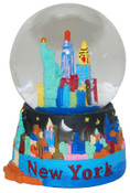 NY Skyline At Night 45mm Snowglobe