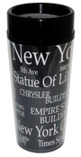 NYC Landmarks Black Tall Travel Mug