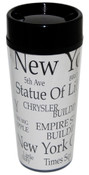 NYC Landmarks White Tall Travel Mug