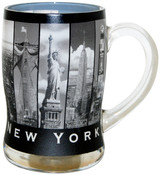 NYC 9 Windows Design Glass Beer Mug