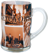 NYC Sepia Photos Glass Beer Mug