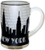 NYC Grey Skyline Glass Beer Mug