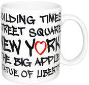 NYC Landmarks Urban Font 11oz Mug