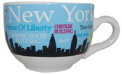 NYC Landmarks Skyline Soup Mug - Lt Blue