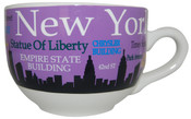 NYC Landmarks Skyline Soup Mug - Purple
