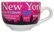 NYC Landmarks Skyline Soup Mug - Pink