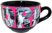New York Icons in Letters Pink Soup Mug