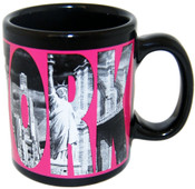 New York Icons in Letters Pink 4oz Mini Mug
