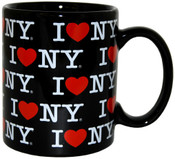 I Love NY Allover Black 11oz Mug
