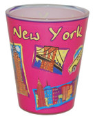 NYC Icons Collage Hot Pink Shot Glass