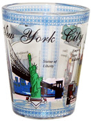 NYC Monuments in Color Clear Shot Glass