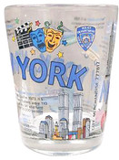 NYC Icons Collage Clear Shot Glass