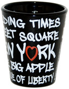 NYC Landmarks Urban Font Black Shot Glass