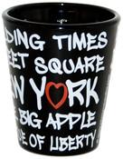 NYC Landmarks Urban Font Black Shot Glass