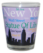 NYC Landmarks Skyline Shot Glass - Purple