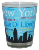 NYC Landmarks Skyline Shot Glass - Lt Blue