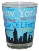 NYC Landmarks Skyline Shot Glass - Lt Blue