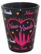 NY Bedazzled Black Skyline Shot Glass