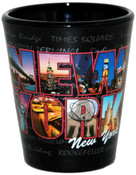 NY Colorful Icons in Letters Black Shot Glass