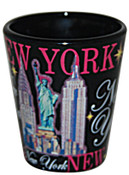 NY-NY Buildings with Pink Script Shot Glass