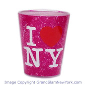 I Love NY Distressed Shot Glass – Fucshia