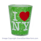 I Love NY Distressed Shot Glass – Green