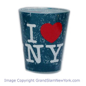 I Love NY Distressed Shot Glass – Ocean Blue