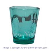 NY Glowing Skyline Shot Glass – Emerald Green