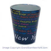 NYC Location Script Blue Shot Glass