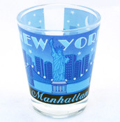NYC Manhattan Starry Night Shot Glass - Blue