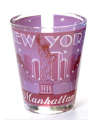NYC Manhattan Starry Night Shot Glass - Pink