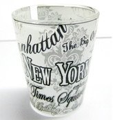 NYC Floral Landmarks Shot Glass - White