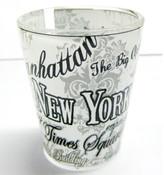 NYC Floral Landmarks Shot Glass - White