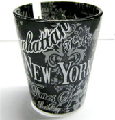 NYC Floral Landmarks Shot Glass - Black