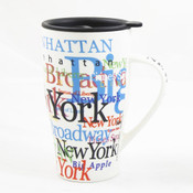 "NYC ""Hotspots"" Ceramic Travel Mug - White"